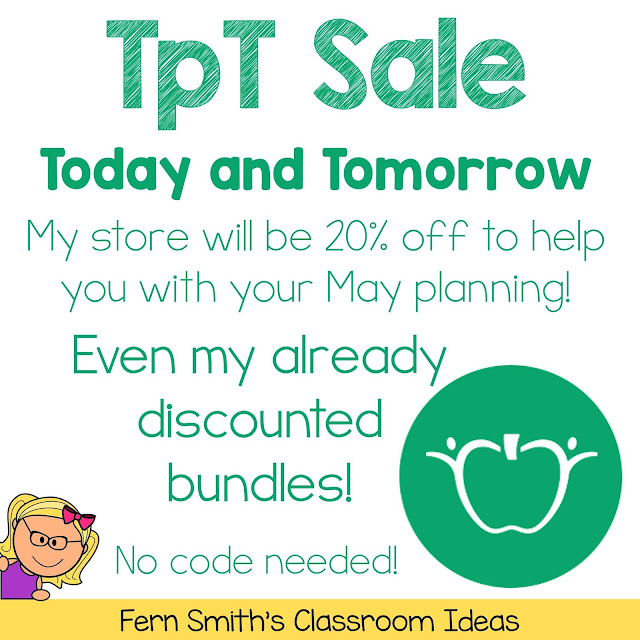Visit My TpT Store - Today is the Last Day These task cards and everything else in my store is on sale today for 20% off to help you with your May planning.