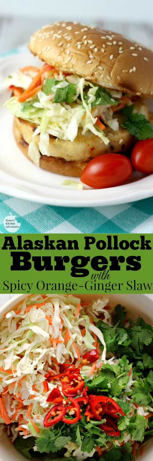 Alaskan Pollock Burgers with Spic Orange-Ginger Slaw | by Renee's Kitchen Adventures - easy dinner recipe featuring Alaskan Pollock Burgers topped with a sweet and spicy orange-ginger slaw  #Swapyourburger #ad