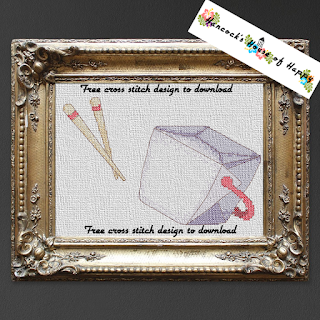 Chinese takeout box cross stitch pattern