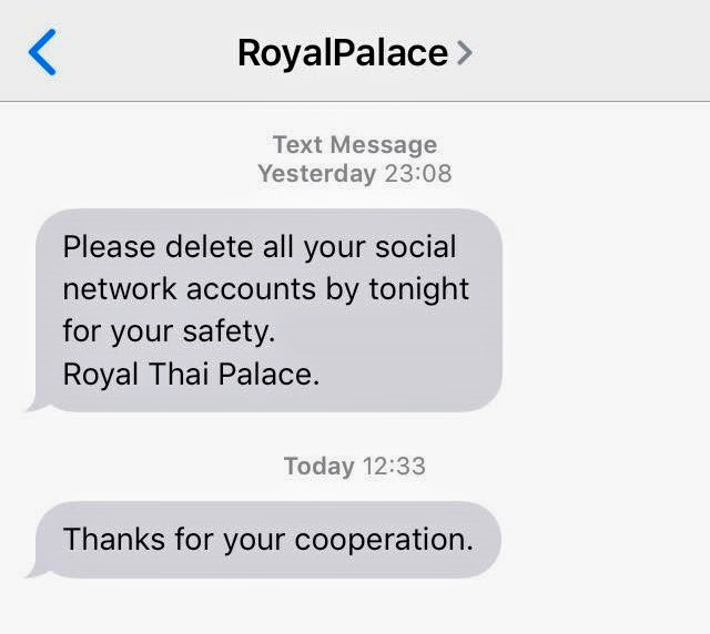 Activist faced a threat from a sender who claimed to be from the Palace.
