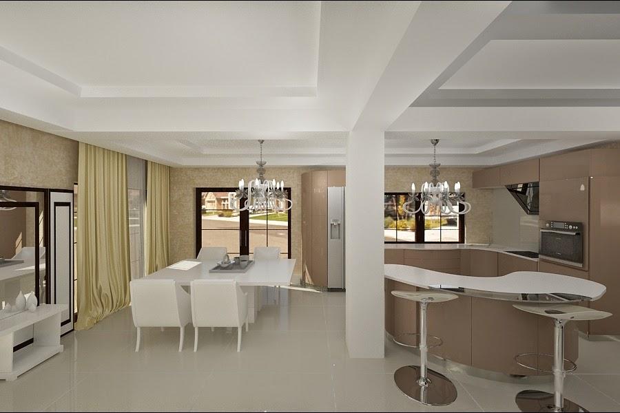 Design - interior - living cu - bucatarie - casa - moderna - pret