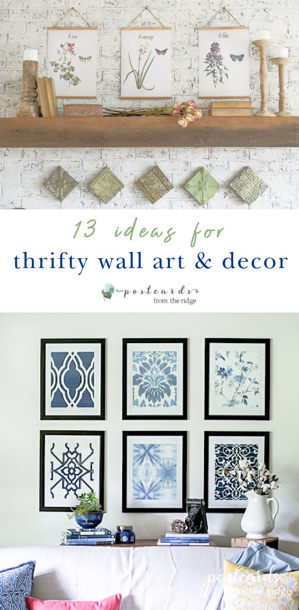 blue and white wall art and vintage botanical wall art