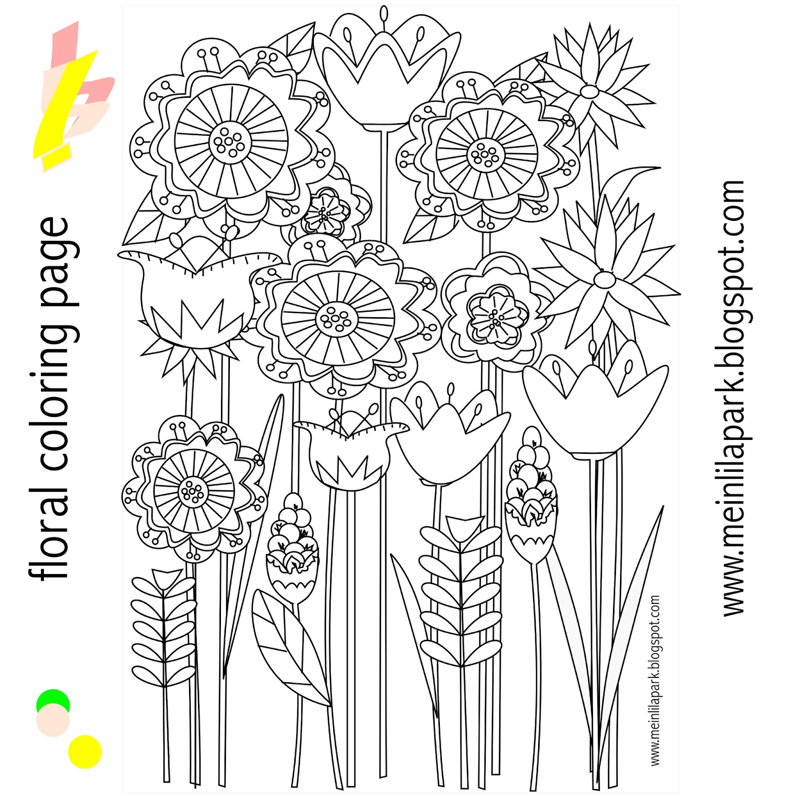Free coloring pages august - Free Printable Floral Coloring Page Ausdruckbare Malseite Freebie