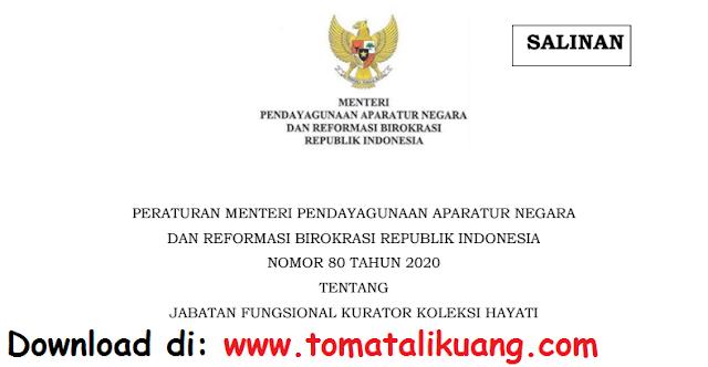 permenpan rb nomor 80 tahun 2020 tentang jabatan fungsional kurator koleksi hayati pdf tomatalikuang.com