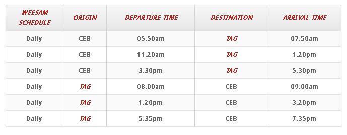 Fast Ferry Daily Scheadule Cebu To Tagbilaran