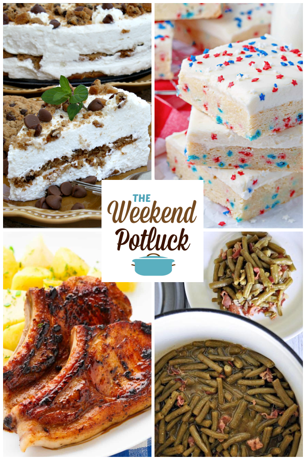 A virtual recipe swap with Chocolate Chip Cookie Ice Box Cake, Patriotic Sugar Cookie Bars, Instant Pot BBQ Pork Chops, Copycat Texas Roadhouse Green Beans and dozens more!