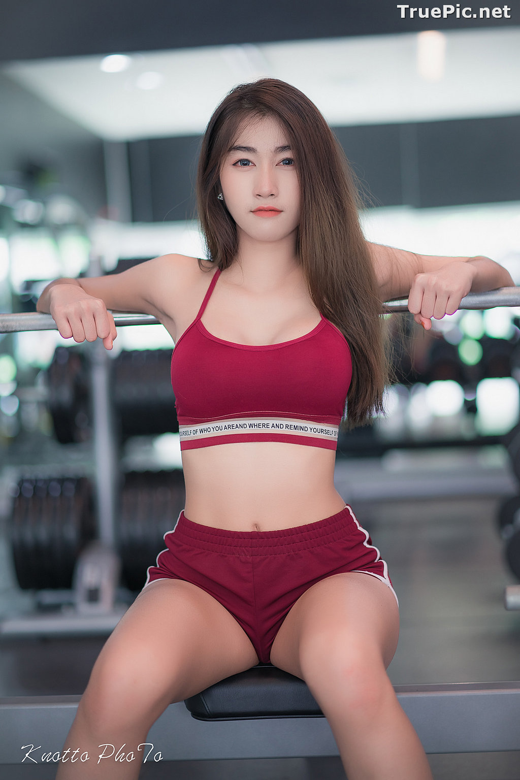 Image Thailand Hot Beauty Model - Nisa Khamarat - Red and Black Fitness Set - TruePic.net - Picture-5