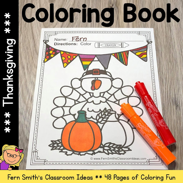 Thanksgiving Coloring Pages that are just Perfect for some Thanksgiving Joy for Your Pre-K, Kindergarten, First Grade, and Second Grade Classrooms. Fern Smith's Classroom Ideas