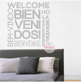 vinilo frase tipográfico texto bienvenidos idiomas