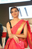 Kajal Aggarwal in Red Saree Sleeveless Black Blouse Choli at Santosham awards 2017 curtain raiser press meet 02.08.2017 056.JPG