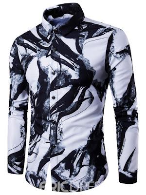 Ericdress Unique Ink Print Long Sleeve Casual Men's Shirt
