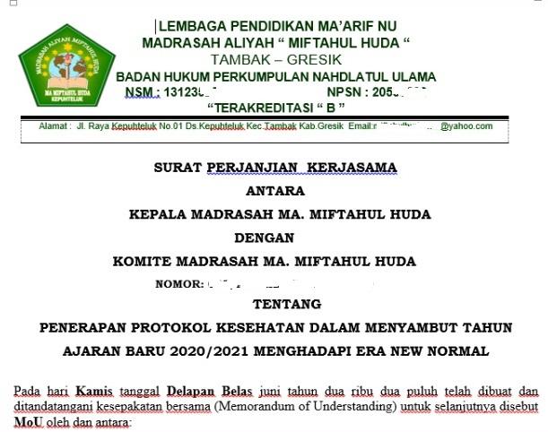 Contoh Format Surat Perjanjian Bersama Antara Kepala Madrasah Dengan Komite Madrasah Admin Bawean