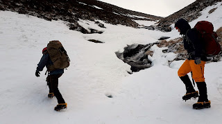 Cramponing in Ciste Gully on Aviemore New Year winter skills course