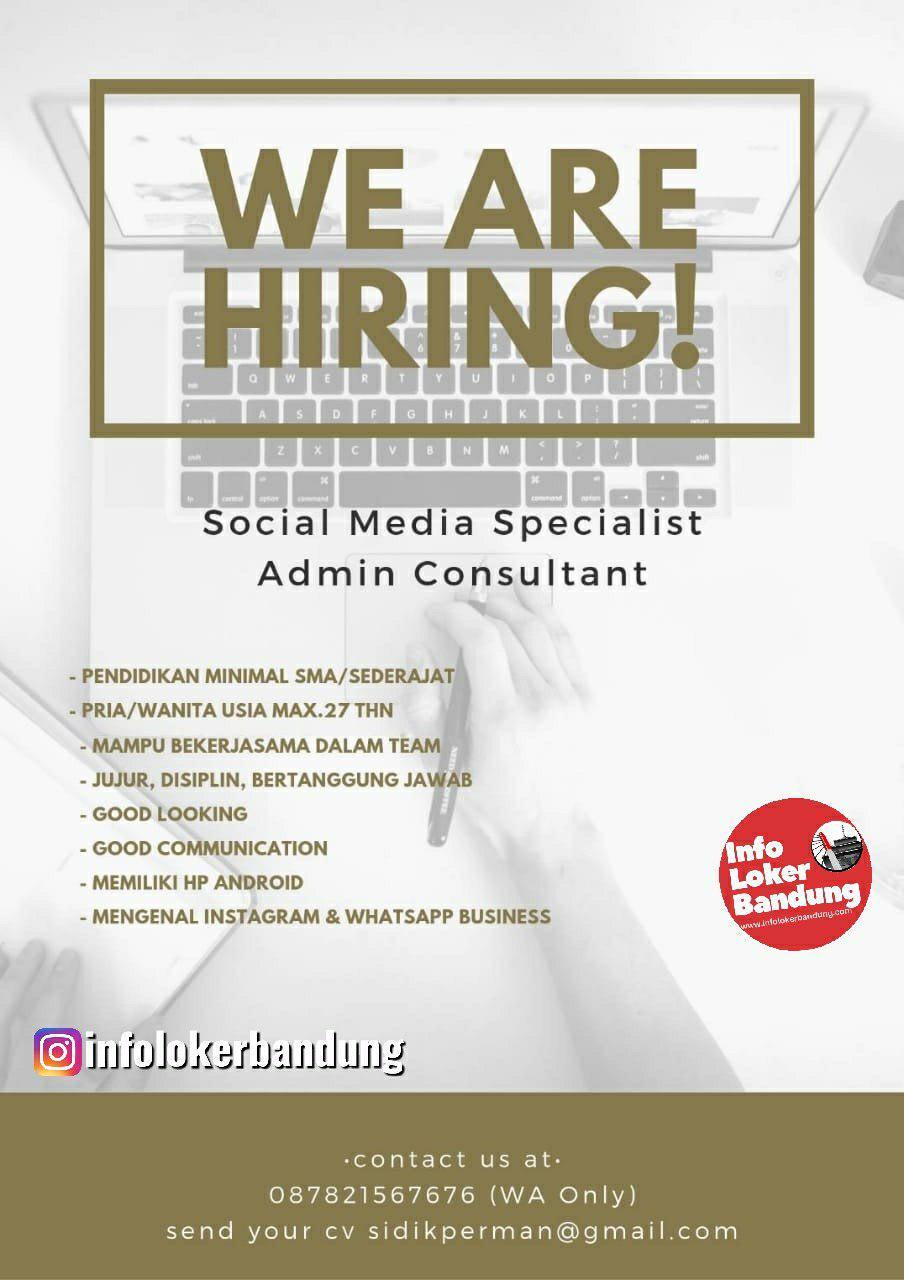 Lowongan Kerja Social Media Specialist & Admin Consultant Bandung September 2019