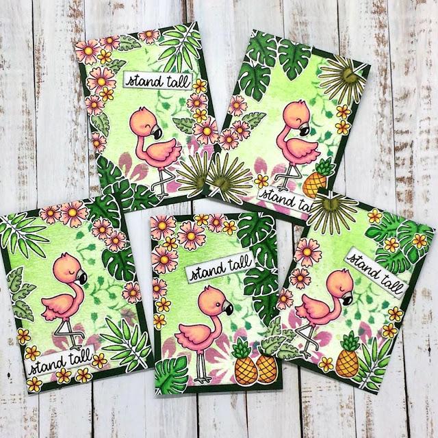 Sunny Studio Stamps: Fabulous Flamingos Customer Card by Tanja