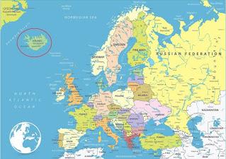 Ubicación de Islandia en Europa.