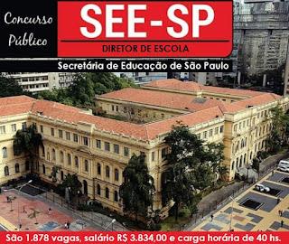 Secretaria de Educação do Estado de SP abre concurso para 1,8 mil vagas de diretor de escola SEE-SP.