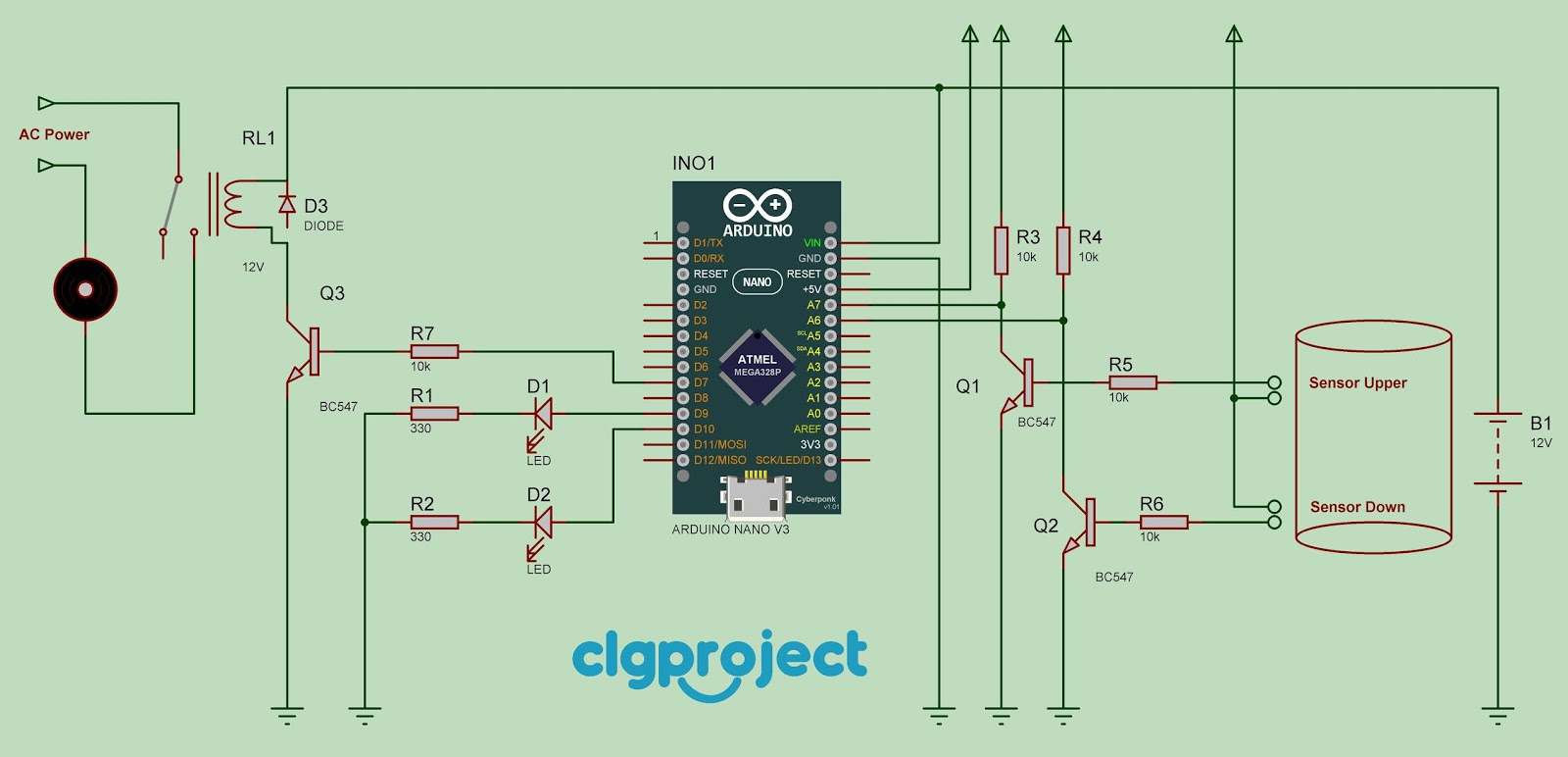 Automatic Water Pump Controller Using Arduino Clgproject Level Sensor Indicator Is Dipped In And Lower One Not Basically It Possible So Should Be An Error The System