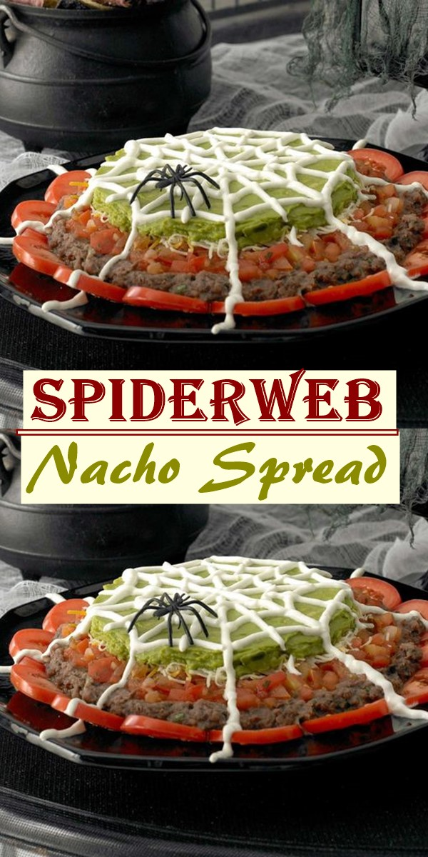 Spiderweb Nacho Spread #halloweenrecipes