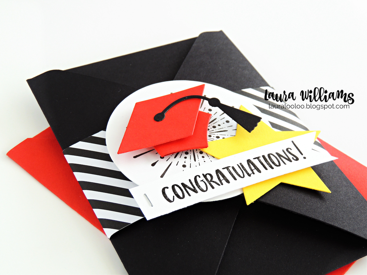 How to make a super cool graduation card with an exploding envelope! Visit this tutorial to learn how to make this unique and surprising handmade card idea. It starts with an envelope created with a scoring board, and then it becomes an amazing interactive card with pockets and notes and room for a gift card! You'll love customizing this exploding envelope card for any occasion!