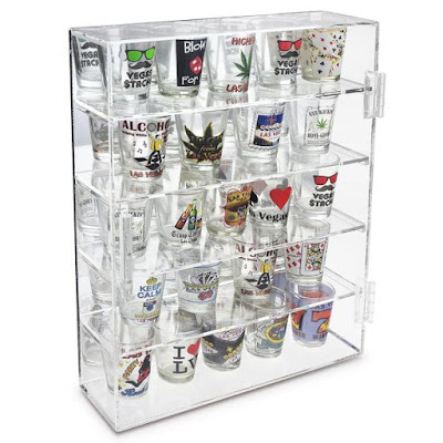 Shop Wholesale Mirror Backed 4 Glass Shelves Shot Glasses Display Case at NileCorp.com