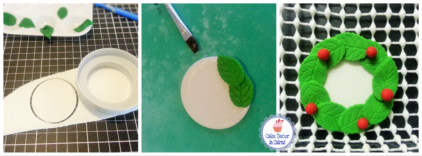 How to make a Fondant Christmas Wreath Topper for cakes and cupcakes. Free Tutorial.