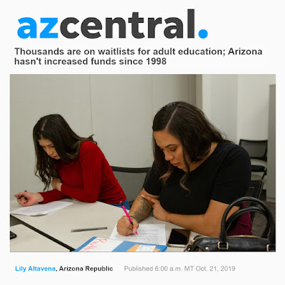 Snapshot of azcentral story, photo of two young women studying.  Headline Thousands are on waitlists for adult education; Arizona hasn't increased funds since 1998.  By Lily Altavena, Arizona Republic