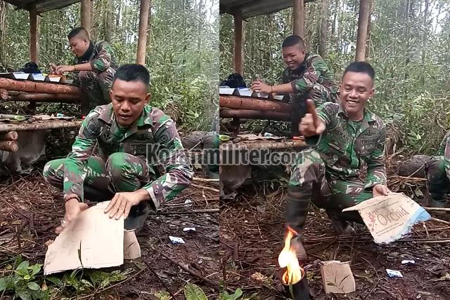 Viral, Aksi Kocak Anggota TNI Bermain Sulap Ditengah Hutan