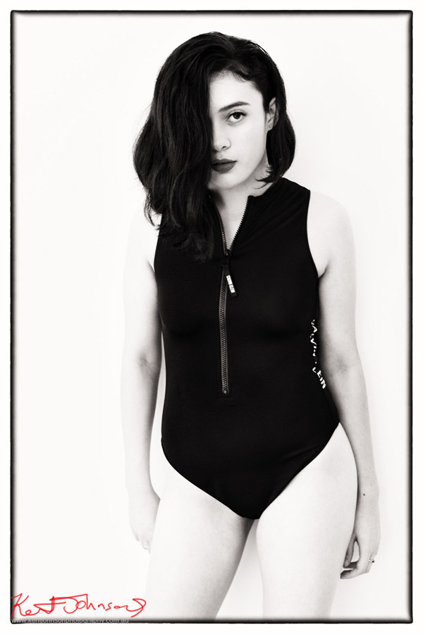 Black and white swimwear shot in studio and against a white backdrop. Fashion Portrait and Modelling Portfolio Photography by Kent Johnson
