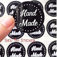 tem handmade đen tròn chấm bi