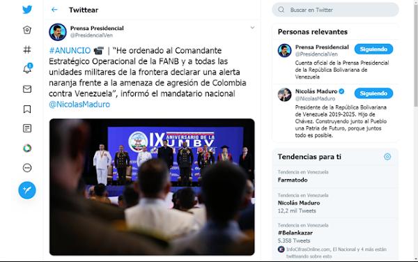 URGENTE: Maduro declara alerta naranja en la frontera con Colombia y ordena ejercicios militares.