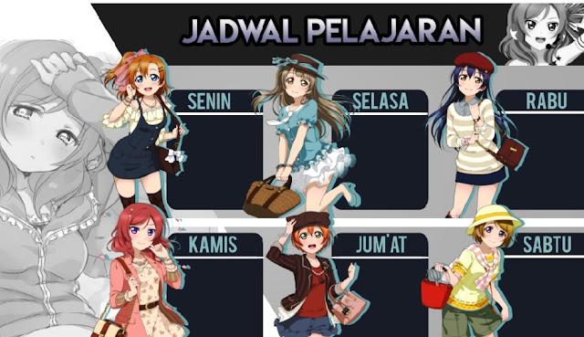 Jadwal Pelajaran Anime Love Live! PSD dan JPG HD