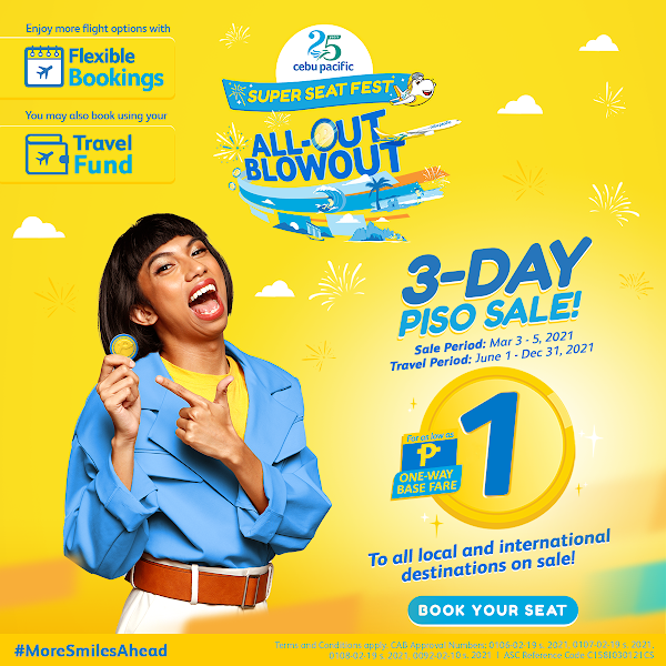 Cebu Pacific rolls out PISO sale on 3.3 Seat Sale March 3, 2021