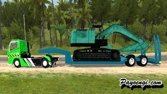 mod canter trailer angkut excavator