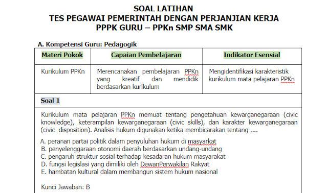 Contoh Soal PPPK (P3K) PPKn Guru SMP, SMA, SMK + Kunci Jawabannya