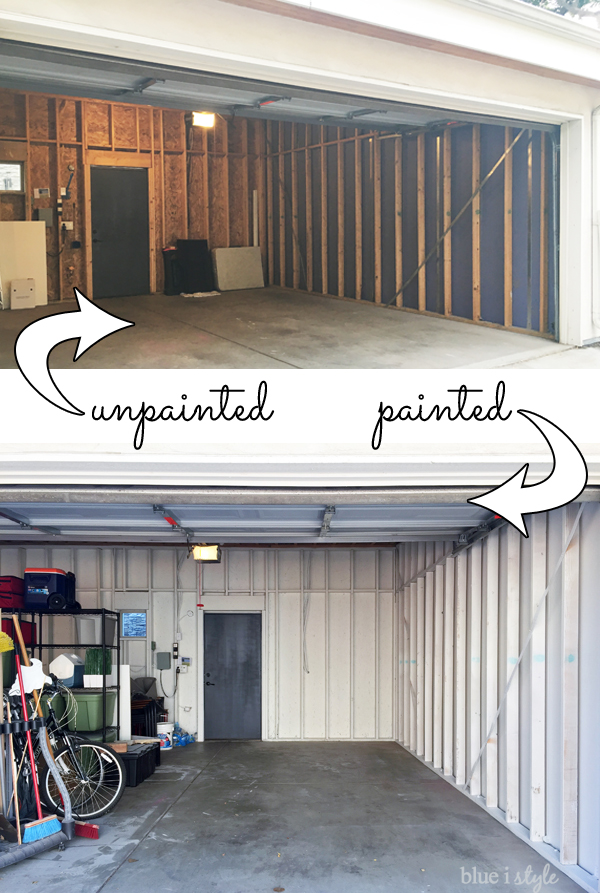 Painting unfinished garage studs white