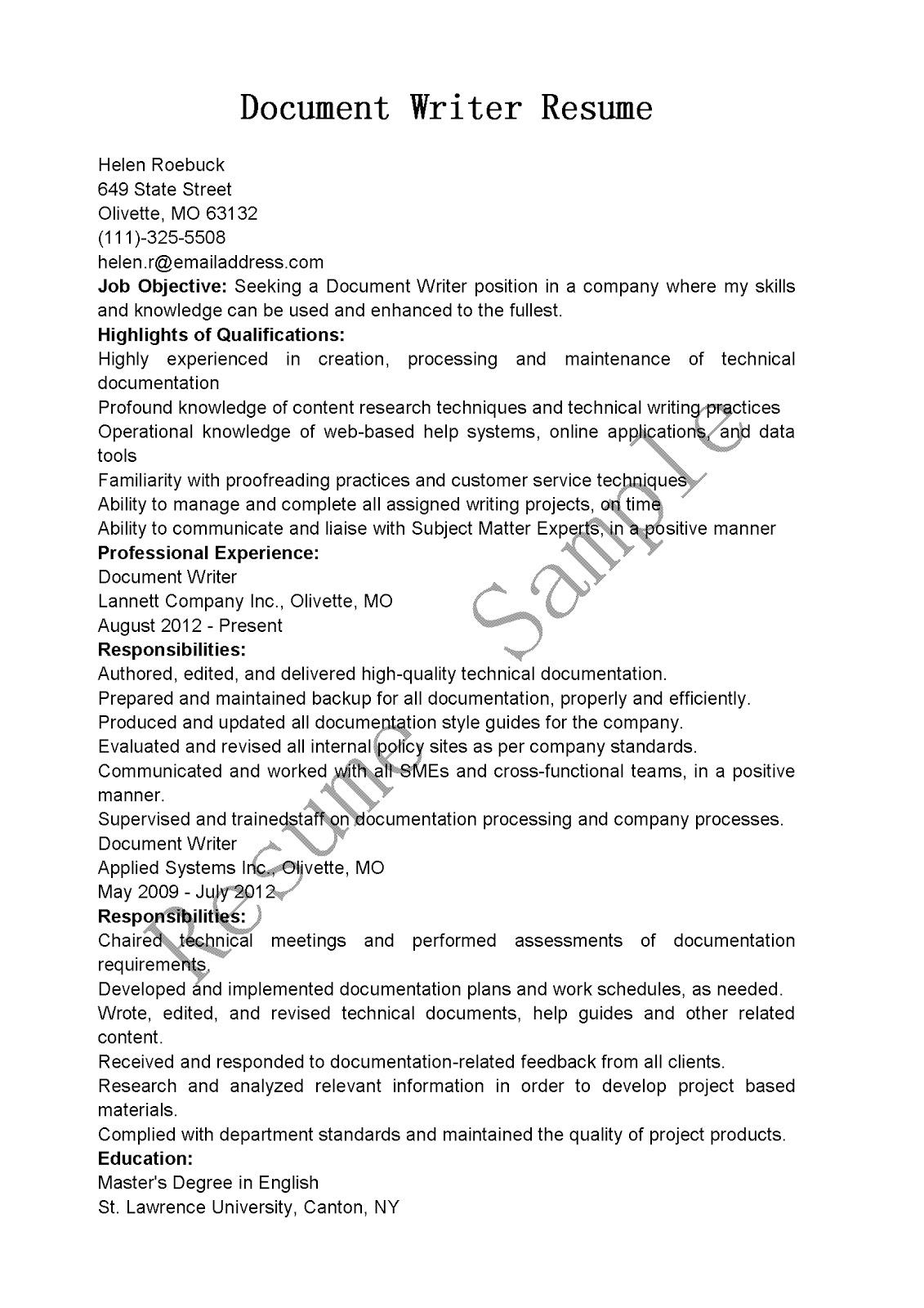 Resume Samples Document Writer Resume Sample