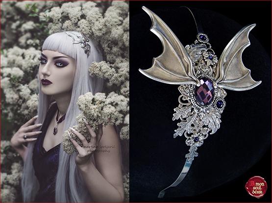 vampire serre tête gothique chauve souris violet bijoux cheveux goth