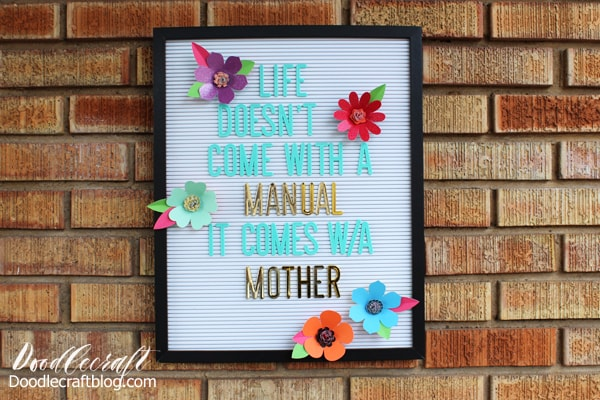 Learn to make 3D flowers to decorate a letterboard using DCWV paper and the Cricut Maker.