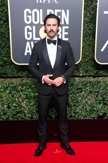 Golden Globes 2018, Red Carpet, Alfombra Roja, Tuxedos, Trajes, Ternos, Hombres, Looks, Outfits, Premiación, Masculinos, Estilismos, Vestir bien, Milo Ventimiglia