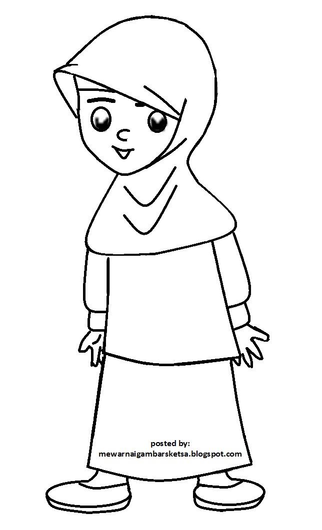 Mewarnai Gambar Mewarnai Gambar Sketsa Kartun Anak Muslimah 71