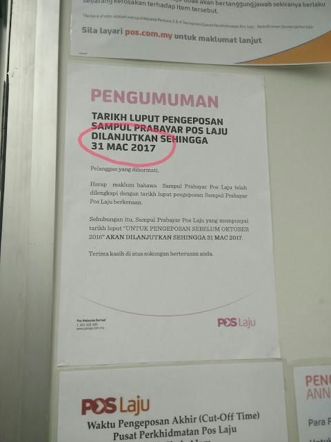 Prabayar Poslaju expired Oktober 2016