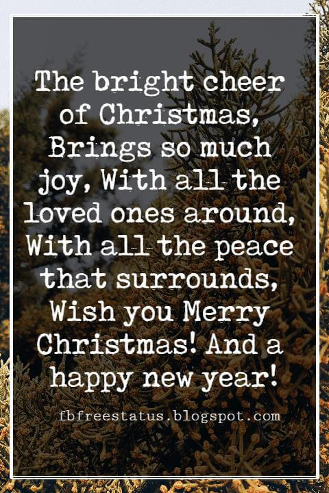Merry Christmas Wishes Text, The bright cheer of Christmas, Brings so much joy, With all the loved ones around, With all the peace that surrounds, Wish you Merry Christmas! And a happy new year!