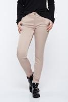 Pantaloni PrettyGirl crem office conici din bumbac cu talie medie • PrettyGirl