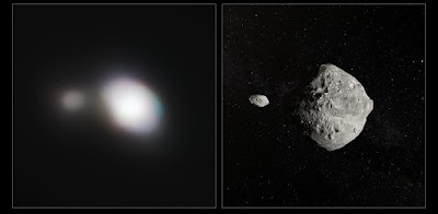 The unique capabilities of the SPHERE instrument on ESO's Very Large Telescope have enabled it to obtain the sharpest images of a double asteroid as it flew by Earth on 25 May. While this double asteroid was not itself a threatening object, scientists used the opportunity to rehearse the response to a hazardous Near-Earth Object (NEO), proving that ESO's front-line technology could be critical in planetary defence.  The left-hand image shows SPHERE observations of Asteroid 1999 KW4. The angular resolution in this image is equivalent to picking out a single building in New York — from Paris. An artist's impression of the asteroid pair is shown on the right.  Credit: ESO
