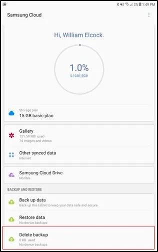 Samsung Cloud Delete Backup