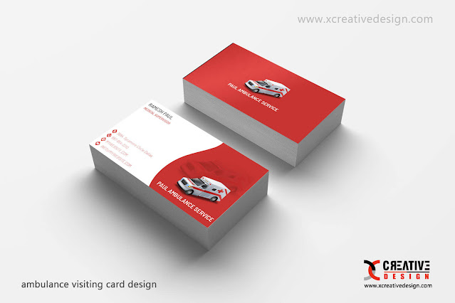 Ambulance Visiting Card Design in cdr and vector