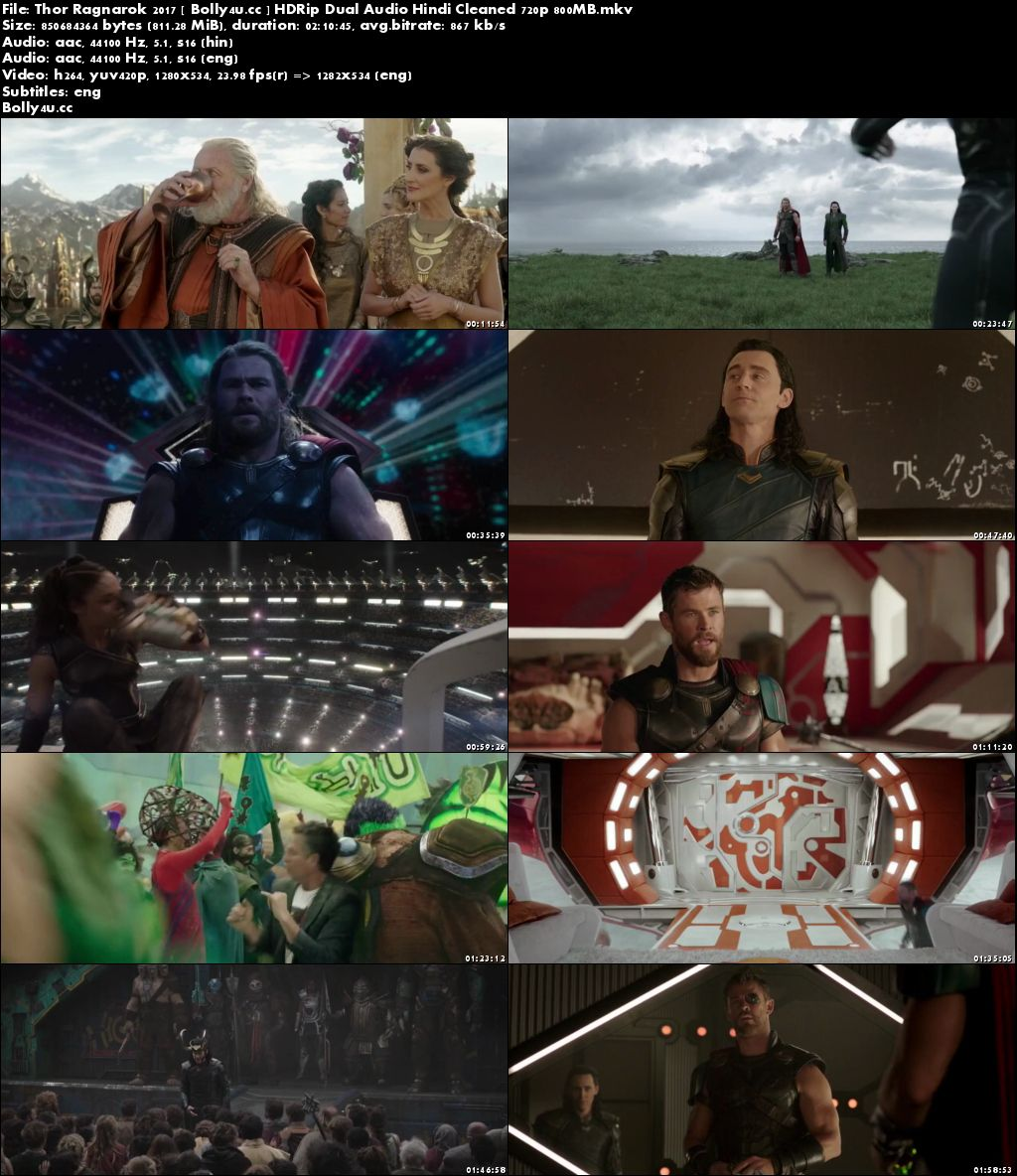 Thor Ragnarok 2017 HDRip 800MB Hindi Dual Audio 720p ESub Download