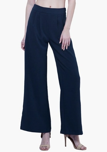 TAILORED PALAZZO PANTS - NAVY INR-1900
