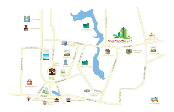 bản đồ liên kết vùng dự án Nam Phương City